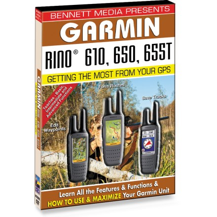 Camp and Hike The easy-to-understand BMV Garmin Rino instructional DVD will have you quickly navigating with your Rino 610, 650 or 655T like a pro. Learn everything you need to know to begin using your new GPS device, from projecting waypoints to setting up routes. Step-by-step instructions cover a wide range of navigational features. Learn position fix and datum, saving and identifying waypoints, navigation principles and terms, navigating to waypoints, forming and following routes. Also covers editing waypoint and routes, saving tracks, customizing the navigator, advanced features and functions, and tips and techniques. - $3.83