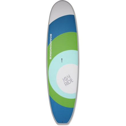 Wake The Joy Ride 10 ft. 11 in. stand up paddleboard from Boardworks Surf lets you get out and enjoy the water on an unusually stable platform. Ideal for beginners or anyone looking for a stable ride, the Joy Ride 10 ft. 11 in. board features a whopping 34.2 in. width. High volume and 240 lb. weight capacity makes this board an excellent choice for large paddlers looking to explore flatwater and light surf. Flat rocker from nose to tail rides small waves when given the chance and enhances speed when paddling on flatwater. Made out of very tough stuff called acrylonitrile styrene acrylate or ASA, the bottom and rails enhance overall durability of board and resist discoloration from UV light. Soft EVA deck provides comfortable traction underfoot. Center fin with 2 side fins promote straight tracking in the water. Center handle makes transporting the 27 lb. Joy Ride stand up paddleboard a breeze. - $1,259.00