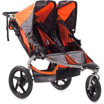 Fitness Transport two children in comfort with this sporty stroller, featuring large wheels for easy maneuvering, independent seat adjustment and a cushy suspension for adventuring around town and beyond. - $536.00