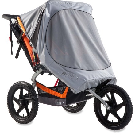 Fitness This BOB Sun Shield cover is designed for the Sport Utility and Ironman Duallie strollers, blocking harmful ultraviolet rays (UVA/UVB) and protecting passengers from wind and flying bugs. - $36.93