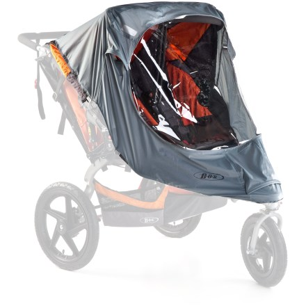 Fitness This BOB Revolution Duallie Stroller weather shield helps keep young children protected from the elements while enjoying a ride in their stroller. - $59.00