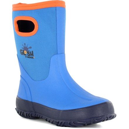 The Bogs Glosh rain boots are built for kids who can't get enough splashing in puddles, offering full waterproof protection and light insulation for comfort in mildly cool temperatures. 4-way stretch neoprene uppers hug feet comfortably and are covered with rubber for lasting waterproof protection; grab handles make for easy entry and exit. 3mm neoprene offers light insulation for cool temperatures; comfort rated to 14degF. Nylon jersey linings enhance in-shoe comfort by helping manage the internal climate. Removable footbeds and rubber midsoles offer cushioned comfort for all-day use. Steel shanks provide extra stability and support to handle uneven terrain. Rubber outsoles on the Bogs Glosh rain boots offer nonmarking, nonslip traction for excellent grip on wet surfaces. - $34.93