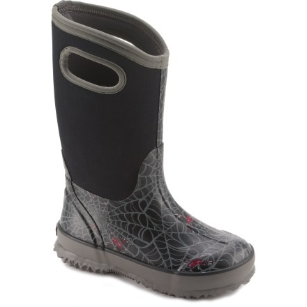The arachnid-themed Bogs Classic High Spiders rain boots offer up waterproof, insulated protection for splish-splashing, sloshing and traipsing through wet and cold conditions. 4-way stretch neoprene uppers hug feet comfortably and are covered with natural, hand-lasted rubber for waterproof protection; grab handles make for easy entry and exit. Neoprene also acts as an insulating layer, offering comfort in temperate to subfreezing temperatures; boots are comfort rated to -30degF. Nylon jersey linings enhance in-shoe comfort by helping manage the internal climate. AEGIS Microbe Shield(R) antimicrobial treatment helps deter odor development. Rubber midsoles offer cushioned comfort for all-day use. Steel shanks provide extra stability and support to handle uneven terrain. Rubber outsoles on the Bogs Classic High Spiders rain boots offer nonmarking, self-cleaning traction for excellent grip on wet surfaces. - $48.93