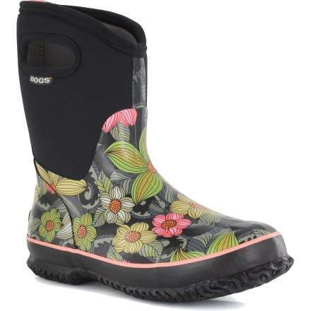 Made with durable, handle-lasted rubber, the Bogs Classic Mid Stargazer insulated rain boots keep your feet dry and cozy in cold, wet environs. Tough, waterproof rubber uppers offer a comfortable, foot-hugging fit. 4-way stretch inner booties with 7mm thick waterproof neoprene supply warmth down to -40degF. Mesh linings reduce blister-causing friction, manage internal moisture and dry quickly. Easy-on pull handles make it easy to slip into the Bogs Classic Mid Stargazer boots. AEGIS Microbe Shield(R) treatment deters odors. Texon fiber boards provide support and torsional stability when walking on uneven ground. Nonslip, nonmarking rubber outsoles on the Bogs Classic Mid Stargazer insulated rain boots provide excellent traction on varied terrain. All-synthetic construction makes these vegan friendly. - $49.83