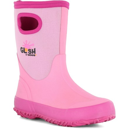 For girls that like to splash around! The Bogs Glosh rain boots are for kids needing full waterproof protection and light insulation for comfort in mildly cool temperatures. Four-way stretch neoprene uppers hug feet comfortably and are covered with rubber for lasting waterproof protection; grab handles make for easy entry and exit. 3mm neoprene offers light insulation for cool temperatures; comfort rated to 14degF. Nylon jersey linings enhance comfort by helping manage the internal climate of the boots. Removable footbeds and rubber midsoles offer cushioned comfort for all-day use. Steel shanks provide extra stability and support to handle uneven terrain. Rubber outsoles on the Bogs Glosh rain boots offer nonslip traction for excellent grip on wet surfaces. Closeout. - $21.83