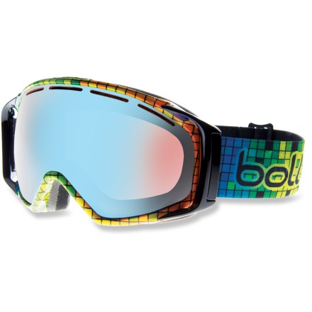 Ski Bolle Gravity snow goggles boast a photochromic, spherical lens for adaptive, distortion-free vision in varying conditions. Spherical lens shape offers a wide, distortion-free viewable area to ensure you're able to see clearly, even peripherally. Rose-tinted Modulator Vermillon Blue photochromic lens reacts to available light, allowing 66% to 26% visible light transmission for excellent visibility in most conditions. Double-lens construction that creates a thermal barrier between the cold air outside and the air within the goggles helps prevent condensation from forming. Waterproof, breathable vent enables 2-way airflow to maintain ideal air pressure between lenses at any altitude while also helping prevent moisture from condensing. Industrial-strength coating helps prevent fogging and reduces scratches without hindering optics. Specialized ports in frame optimize airflow over the inside surface of lens to reduce fogging. 2 layers of multidensity foam are topped with soft fleece for next-to-skin comfort and a precise fit. Swinging outrigger maintains an excellent fit and even pressure when wearing goggles with a helmet. Bolle Gravity snow goggles fit medium- to large-size faces. - $111.93