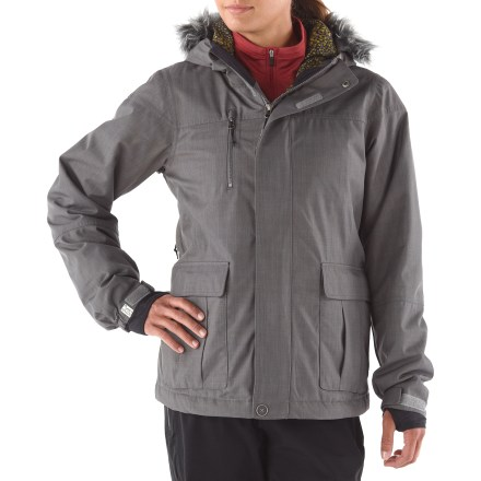 Snowboard No compromises! The Bonfire Safari women's insulated jacket gives you all the rugged, waterproof protection and cozy insulation you need for the ultimate ride. 2-layer stretch polyester fabric construction features a waterproof, breathable DRYLEVEL 3 laminate and 100% taped seams to keep you dry while allowing easy movement. 60g polyester insulation provides lightweight warmth for moderately cold conditions. Polyester lining is soft and slides easily over mid layers. Mesh-backed underarm vents let in generous airflow when you need it, but keep out snow. Removable powder skirt keeps out spindrift and cold air, and zips away when you don't need it. Dual-draw storm hood is adjustable and contoured for a great fit with unobstructed vision; faux fur can be removed. Heat pockets offer key spots to stash activated handwarmer heat packets (sold separately) for a warm boost. Zippered dual handwarmer and chest pockets, pass pockets and clear view sound pocket with storm access and headphone routing keep all your essentials close at hand. Snap-Tite pant interface offers a seamless connection between jacket and coordinating pants to keep out snow and cold air (pants sold separately). Articulated elbows provide a natural fit and superior movement. Women's Bonfire Safari jacket is designed with a classic fit for ample room to layer without feeling bulky. - $120.83