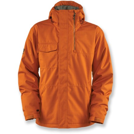 Snowboard The Bonfire Arc insulated jacket is high in function and high in style, letting you tackle the slopes with all the vim and vigor this jacket is bound to inspire in you. Rugged shell features a waterproof, breathable DRYLEVEL 2 laminate and taped critical seams to keep you dry while allowing easy movement. Polyester insulation (80g throughout) provides warmth while effectively managing moisture. Taffeta lining manages moisture and slides easily over layers. Mesh-backed underarm vents let in generous airflow when you need it, but keep out snow. Cozy, soft collar offers space for your face-expandable gusset keeps your chin and neck warm and comfortable. Dual-draw storm hood is adjustable and contoured for a great fit with unobstructed vision. Removable powder skirt keeps out spindrift and cold air, and zips out of the way when you don't need it. Goggles bag, internal and external chest pockets, audio pocket with storm access and pass pocket stash your on-the-mountain essentials. Fleece-lined handwarmer pockets with hidden key hook and lift-ticket loop prevent you from losing important items. Snap pant interface offers a seamless connection between jacket and coordinating pants to keep out snow and cold air (pants sold separately). Bonfire Arc jacket is designed with a classic fit for ample room to maneuver freely. - $153.93