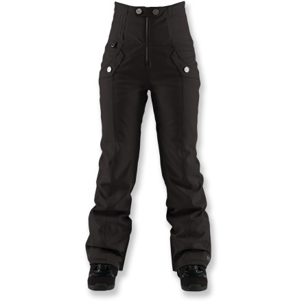 Snowboard These high-waist snow pants are not the unflattering Mom Jeans of SNL fame. The Bonfire Taylor insulated pants are like bibs, only better, delivering winter protection that would make any mom happy. Stretch twill shell fabric construction features a waterproof, breathable DRYLEVEL 3 laminate and 100% taped seams to keep you dry while allowing easy movement. High waist design keeps out cold and snow; side stretch elastic panels move with the body, increasing comfort and range of motion. Polyester insulation (40g throughout) provides warmth while effectively managing moisture. Loft-Lite brushed fleece lining provides slight insulation while wicking moisture away; you stay warm and dry. Mesh-backed inseam vents regulate temperature during activity, but keep snow out. Gaiters with boot hooks prevent snow from invading your boots and chilling your feet; zip hem vents with gussets ease boot dressing. Internal waist adjustment tabs personalize the fit. Dual waist pockets keep hands warm and twin cargo pockets stash your gear; lift loop keeps your pass easy accessible. Pants include windows for Boa(R) lace system compatibility. Bonfire Taylor pants are designed with a tailored fit; slimmed down details and articulated knees create a flattering cut. Articulated knees allow comfortable range of motion with no tugging. - $139.93