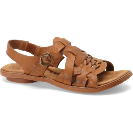 Entertainment The Born Cassia sandals bring style and comfort to your summer adventures. Smooth, full-grain leather straps cradle insteps for a comfortable and secure fit; buckles on the instep straps offer easy adjustment for a secure fit. Leather linings absorb moisture, enhancing comfort. Handsewn opanka construction offers the flexibility and comfort of moccasins. Contoured leather and foam topsoles provide firm yet comfortable support; steel shanks offer torsional support. Rubber outsoles supply traction on all types of surfaces. Closeout. - $26.73