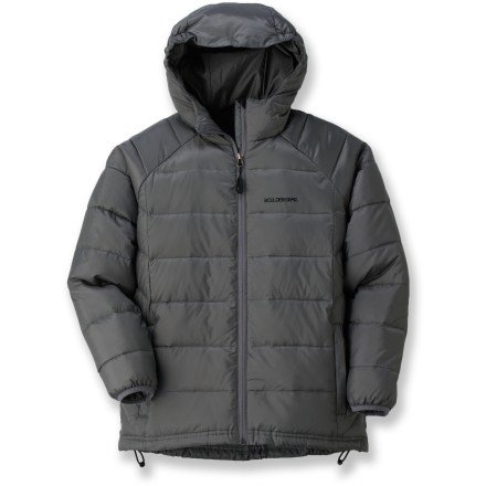 Camp and Hike Outfit him for winter play with the Boulder Gear Base Camp down jacket. Durable ripstop polyester fabric stands up to wear and tear; polyester lining easily slides over layers. High-quality 600-fill-power goose down is warm, lightweight and compressible. Attached hood keeps the elements at bay. Internal storage pocket keeps small items secure. Drawcord hem and elastic cuffs seal in the warmth. Special buy. - $79.83