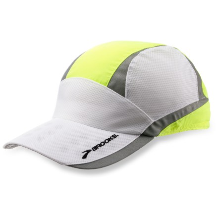 Fitness The Brooks Nightlife mesh cap helps you be seen by oncoming motorists and cyclists while you're out for your daily run. 360deg of 3M Scotchlite(TM) retroreflective detailing catches the eye of motorists. Woven polyester fabric is wind and water resistant. Mesh panels add breathability. The Brooks Nightlife mesh cap has an adjustable back closure that fits most head sizes. - $11.83
