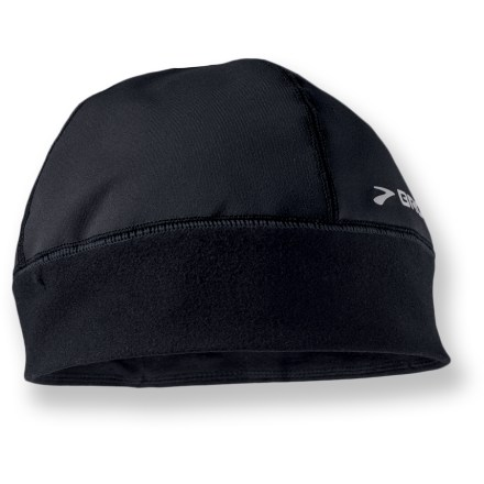 Entertainment Before stepping outdoors for your daily jog pull on the Brooks Infiniti beanie to keep your head and ears warm. Lightweight polyester/spandex blend wicks moisture off your head when you're working up a sweat on a run. 3M(TM) Scotchlite(TM) reflective details increase your visibility at night. - $11.83