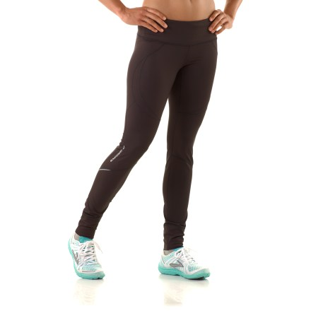 Fitness Look great while you train in the Brooks Infiniti tights II. Brushed stretch fabric keeps moisture at bay, dries quickly and balances your temperature in heat and cold; stretch-mesh inserts increase breathability. You'll run farther without chafing thanks to the flat seams and smooth construction. Elastic drawcord waist personalizes the fit. Hidden zippered rear pocket stashes energy gel, ID or media player and helps protect contents from perspiration. Internal waistband pocket holds a key. Reflective detailing increases your visibility to motorists in dim light from any angle. Cuffs fold up to personalize ventilation or fold down to cover lower calf and upper ankle. The Brooks Infiniti tights II offer a close-to-body, athletic fit. - $75.00