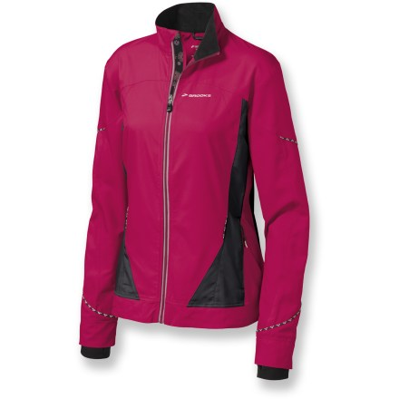 Entertainment The Brooks Infiniti II jacket keeps you covered while you're logging miles. Windproof fabric wicks away moisture, dries quickly and fends off light rain. Durable Water Repellent finish causes water to bead up and roll off. Stretchy underarm panels offer high breathability. Back vent keeps air circulating so you won't overheat. Reflective highlights improve nighttime profile. Thumbholes at cuffs keep your hands cozy and covered during activity. Internal pocket holds your music player; zippered pockets shelter hands and accessories. Semifitted Brooks Infiniti II jacket is not too tight and not too loose. Closeout. - $29.93