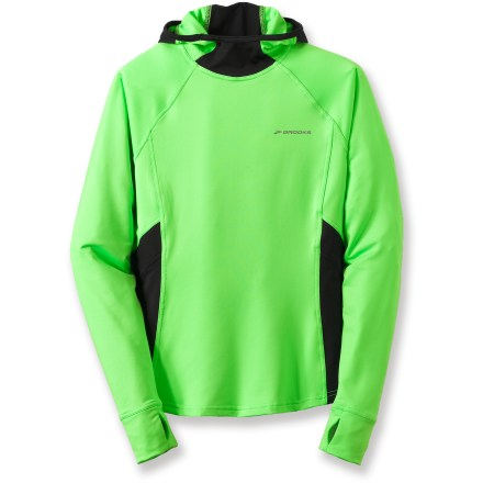 Entertainment The Brooks Infiniti women's hoodie packs style and performance into a versatile layering piece. Polyester and spandex fabric offers warmth to active muscles, wicks moisture and dries quickly. Side stretch panels keep air circulating and encourage free range of motion. Hood features mesh panels around ears to enhance hearing and a ponytail exit hole. Hidden zippered pocket stashes extras. Thumbholes keep sleeves in place. Reflective detailing increases your visibility in low light. Semifitted Brooks Infiniti hoodie is not too tight and not too loose. Closeout. - $21.73