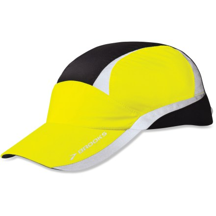 Sports You're dedicated to staying fit, which means sometimes you're up before the sun or out past dark logging miles. Wear the Brooks Nightlife hat to increase your visibility to motorists and bikers. 360deg of 3M(TM) Scotchlite(TM) reflectivity and a flat LED light in back help you catch the eye of motorists and bicyclists. LED operates in continuous and blinking modes; light is powered by 1 user-replaceable CR2032 lithium battery (included). Woven polyester fabric resists wind and moisture for all-weather outings. Adjust the fit of the Brooks Nightlife hat with the rip-and-stick strap in back. Remove the battery pack before washing the hat. - $16.83