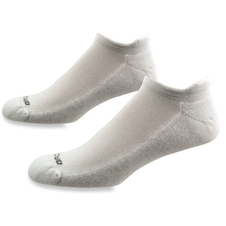 Fitness The Brooks Essential Low Cut Tab socks includes 2 pairs of socks with an Achilles tab, breathable mesh panels and moisture-transfer polyester to keep feet dry and comfortable. Full-length foot cushioing. Dri-Stitch(TM) polyester effectively wicks moisture and comforts feet with a smooth, soft feel. Nylon reinforcement in the heel and toe maximizes durability. Mesh tops reduce bulk and allow better air circulation, keeping feet cool and comfortable. Low-profile Achilles tab reduces the chances of blisters forming in this friction-prone area. Flat toe seam all but eliminates the chance of blisters caused by friction between harsh seams and toes. Size is knit into the Brooks Essential Low Cut Tab socks for quick identification. *Discount will be applied when you check out. Offer not valid for sale-price items ending in $._3 or $._9. Please note: a package of 2 pairs counts as 1 pair of socks for the 10% volume discount. - $10.93