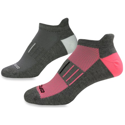 Fitness The women's Brooks Essential Low Cut Tab Lite socks includes 2 pairs of socks with an Achilles tab, breathable mesh panels and moisture-transfer polyester to keep feet dry and comfortable. - $10.93