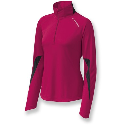 Fitness The Essential Run half-zip top from Brooks works hard to keep you comfortable on cool days. It also excels under a shell in cold weather. Moisture-wicking, quick-drying polyester offers soft stretch and top-notch performance. 9 in. front zipper offers ventilation, and a stormflap shuts out chilling drafts. Thumbholes secure sleeves over hands for warmth. Zippered side pocket accommodates your music-player earphones. Semifitted Brooks Essential Run half-zip top is not too tight and not too loose. Closeout. - $32.93