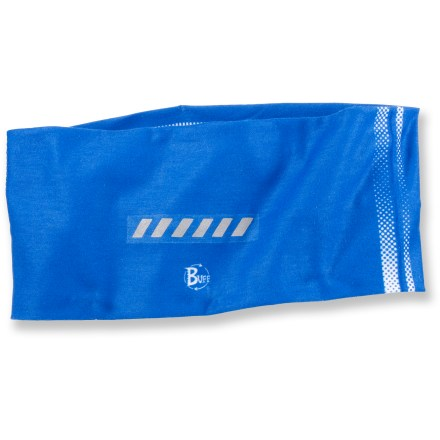 Popular among cyclists, joggers and walkers, this reflective Buff features 2 vertical stripes of 3M Scotchlite(TM) reflective material for excellent visibility at night. Built-in stretch gives this buff the versatility to be worn as a mask, bandana, hair band, balaclava or scarf. Polygiene(R) active odor control technology inhibits the growth of odor-causing bacteria and is designed to last the lifetime of the garment. - $9.93