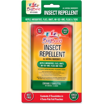 Camp and Hike Convenient BugBand Insect Repellent wipes with geraniol can be easily applied directly onto exposed skin to form a protective barrier against bloodsucking bugs. - $3.93