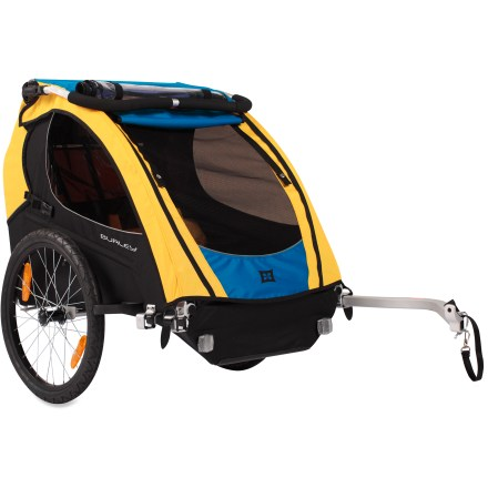 Fitness The Burley Encore bike trailer fits 1 or 2 children and is designed for true adventurers. It converts from a bike trailer to a stroller, a jogger and even a ski unit (kits not included). Encore comfort features will have children offering a standing ovation after riding in it! Seats feature a secondary relaxed position and the seat pad can be removed for washing. Comfy suspended seat is built with breathable flow-through mesh; protective 5-point harness system with mesh straps protects children. Large, deep helmet pocket allows children to ride and sleep comfortably; interior pockets hold their treasures. 2-in-1 cover, with sealed seams and waterproof zippers, shields little ones from bugs, wind and rain; also includes adjustable sunshield. Tinted windows with UV inhibitor provide great visibility inside and out; rear vents allow maximum airflow. Balance point over wheels reduces the weight on the bike and provides a smooth ride for little passengers. Includes easy-glide, retractable tow bar; hitch positioning is designed for superior trailer tracking. Frame constructed with light, strong aluminum alloy tubing and contoured side roll bars; skid pad on frame bottom protects fabric from abrasion. Drum-tight, water-repellent fabric keeps children away from wheels and spokes. Wheel guards on the trailer's frame deflect the trailer wheels from coming into contact with obstacles. Trailer floor drains for easy cleaning. Features 20 in. quick-release alloy wheels. Rear cargo area for extra gear and groceries, plus an additional pocket for adult items such as keys, cell phone and water bottle. Includes reflectors on front, rear and wheels, a safety flag and reflective trim on the fabric for visibility. Convert your Encore trailer to a stroller with the Stroller Kit and to a jogger with the Jogging Kit, both sold separately. Convert your Encore to a winter-ready trailer with the Ski Kit, not included. - $372.93