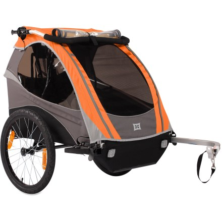 Fitness The Burley d'lite bike trailer fits 1 or 2 children, and they'll be delighted to hitch a ride in this spacious and comfy zone. Burley d'lite features bowed-out side battens that add elbow room; it also comes with shock-damping elastomer suspension to make the ride even more comfortable. Includes a reclining seat back for napping children. Anti-dive seat pad bottom and seat divider help each child sit comfortably in trailer; pads are removable and washable. Recessed helmet pocket fosters ergonomic body position for a child wearing head protection. 2-in-1 all-weather cover with mesh fabric and rainfly shields little ones from bugs, wind and rain; zipper is waterproof. Tinted windows offer UV protection; includes a stow away sunshield. 35 liters of enclosed storage space accommodates parent's gear or daypack; interior pockets stash kid treasures. Protective alloy roll cage and 5-point padded safety harness guard your child in the unlikely event of a minor tumble. Flex-connector on hitch keeps trailer upright if the bike falls over. Wide track and low center of gravity provide maximum strength and stability. Light, strong aluminum frame with contoured side rollbars and a water-resistant polyester shell provide durability and reliable performance. Quick-release wheels detach and collapsible frame folds down for easy storage. Comes with adjustable padded handlebar, parking brake and safety flag. Convert your d'lite to a stroller with the Stroller kit or to a jogger with the Jogging kit, both sold separately. - $426.93