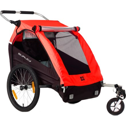 Fitness Burley Honey Bee Bike Trailer includes a stroller kit for enhanced versatility-tow it as a trailer to your destination, then flip down the stroller wheel and stroll away! Comfy suspended seat is built with breathable flow-through mesh; 5-point harness system with padded shoulder straps keeps children comfortable and secure. Large, deep helmet pocket allows children to ride and sleep comfortably; interior pockets hold their treasures. Non-zip, 2-in-1 cover shields little ones from bugs, wind and rain; UV protected windows provide great visibility inside and out. Frame features light, strong aluminum alloy tubing, and the full internal roll-cage offers extra measure of safety. Adjustable, padded handlebar lets you push with ease; rear cargo net provides generous storage space. Comes with the Stroller kit, which features a single, easy-tracking front wheel for easy strolling and walking; wheel can be folded up out of the way for use with bike tow bar. Also included is the easy-to-use bike tow bar, which enables you to pull the Burley Honey Bee by bike; hitch positioning designed for superior trailer tracking. 20 in. alloy wheels roll confidently and can be removed with a simple push of a button. Wheel guards on the trailer's frame protect the wheels and deflect oncoming obstacles such as branches or tall grass. Reflectors, reflective trim and safety flag provide low-light visibility. Folds quickly and compactly for easy storage. The Burley Honey Bee Bike trailer comes with the stroller kit, bike tow bar and hitch, safety flag and manual. - $399.00