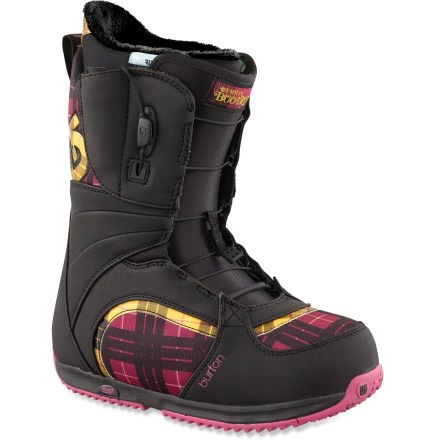 Snowboard With a tender touch and soft, inviting flex, Burton Bootique snowboard boots are freestyle-focused boots that put comfort, fit and good looks at the top of the priority list. - $89.83