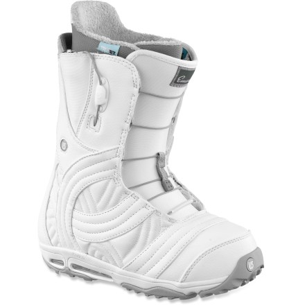 Snowboard The Burton Emerald snowboard boots go anywhere and rule everything. They offer mid-range support, slipperlike comfort and the simplicity and ease of a lightning fast lacing system. - $98.83