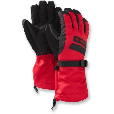 Snowboard These Burton gloves for boys supply tough, durable protection, waterproof, breathable performance and warm insulation to keep kids happy in the snow. Tough nylon shells fight off wind and moisture and resist abrasion, providing long-term wear. 2-layer DRYRIDE Ultrashell(TM) 2-layer coating is completely water- and windproof and allows ample breathability during vigorous activities. Thermacore(TM) insulation traps heat efficiently for cozy warmth, even when damp. Soft microfiber linings provide additional warmth and moisture management. Polyurethane palms and fingers resist abrasion and stick to whatever he's manipulating. Gauntlet-length for extended coverage; adjustable elastic wrist closures and webbing straps seal in warmth. Single-pull drawcord cuffs close tightly around arms to seal out snow and cold air. Precurved shape prevents compression of insulation and promotes lasting warmth. The Burton gloves feature a storage clip that keeps gloves together when not in use. - $26.95