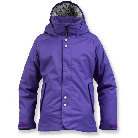 Snowboard The Burton Melody jacket is for girls who live to ride in warmth and style. This insulated parka features full weatherproof protection and loads of cool features. Polyester fabric, with 2-layer DRYRIDE Durashell(TM) waterproof, breathable coating and taped critical seams, keeps snow and moisture at bay. Non-bulky Thermacore(TM) insulation traps body heat for warmth without constriction. Smooth taffeta lining disperses excess moisture, dries quickly and helps jacket slide on easily over layers. Insulated, helmet-friendly hood is shaped to maximize peripheral vision and provideg extra warmth and protection on long chairlift rides. Jacket-to-pants interface creates a solid connection with compatible Burton pants to seal out snow. The Burton Melody jacket features a waist gaiter that retains heat and helps seal out snow. - $139.95