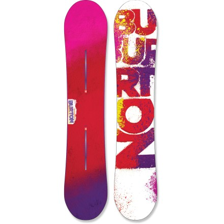Ski The Burton Blender snowboard mixes up a true twin shape with a pow-loving, jib-focused design! Table tops or mailboxes, pipe hits or wall rides, get ready to thrash and destroy whatever obstacles you shake this stick at! Burton designs womens boards to match the geometry and fitness of the female rider; torsional softness underfoot transitions to stabilizing zones between and outside the feet. Twin shape and twin flex: this board is symmetrical from tip to tail for a balanced ride that's equally versatile whether ridden regular or switch. V-Rocker(TM) design energizes edge control under your feet while disengaging tip and tail contact points for a catch-free yet stable feel. Buttery, scooped tips and knifelike edges underfoot combine with the 3-stage V-rocker to add to an already nimble package. The Channel M6 system offers unlimited, on-the-fly stance adjustability, enhances board feel and is compatible with EST(TM), Re:Flex(TM) and Disc(R) bindings. Wood core is light and loaded with pop; a vertical sandwich of hard and soft woods saves weight and improves response. Dual-zone wood grains, positioned along the toe and heel edges perpendicular to the core, enhance edge hold. Fiberglass in the topsheet provides versatile flex and response so you can shred everything from big mountain descents to laps in the park. Longer surface area at the tip and tail contact points improves edge-hold, allowing the board to plane easier in powder. Exaggerated tip and tail scooping ads catch-free fun when riding everything from a knee-high box to neck-deep pow. Edges extend out slightly beneath the bindings for tremendous edge hold in hard, icy conditions, but they remain playful in softer conditions. Clean and clear, this highly-porous sintered base lowers friction between board and snow, improving your speed. - $170.83