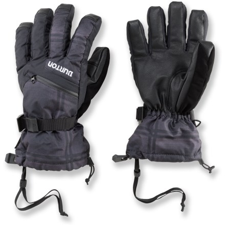 Ski The versatile women's Burton Gore-Tex gloves let you use the shells and liner gloves together for the most warmth, or separate them on mild days. Waterproof, highly breathable Gore-Tex(R) XCR(R) inserts in the shells keep your hands dependably dry and comfortable. 2-layer DRYRIDE Durashell(TM) fabric reinforces glove exteriors for powerful protection from the elements. Thermacore(TM) synthetic insulation offers excellent warmth for protection from cold temps while you're cruising the slopes. Zippered pockets on the backs of the hands are sized to fit hand warmer packets (sold separately). Removable stretchy liner gloves are nice when you need to operate zippers or fiddle with bindings but don't want to use your bare hands; include grippy palms. Get a good grip on your ski poles with the polyurethane palms. Gauntlet cuffs fit over the sleeves of your jacket; give a tug on the shockcord to seal out cold air and snow. Burton Gore-Tex gloves have a precurved fit for great dexterity. - $69.95