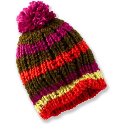 Entertainment The Burton Candystripe beanie has a chunky knit and colorful stripes to spice up your winter style. Acrylic/wool/alpaca blend is soft and warm. Burton Candystripe hat has a slouch fit. - $37.00