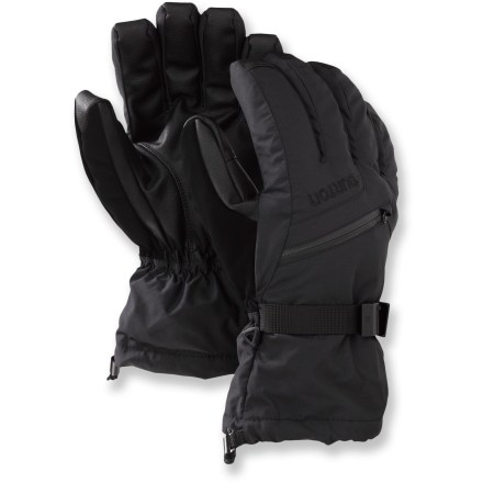 Ski With a 3-in-1 design, the Burton Gore-Tex gloves will have you ready for any adventure. You can use the shells and liner gloves together for the most warmth, or separate them on mild days. Waterproof, highly breathable Gore-Tex(R) XCR(R) inserts in the shells keep your hands dependably dry and comfortable. 2-layer DRYRIDE Durashell(TM) fabric reinforces glove exteriors for powerful protection from the elements. Thermacore(TM) synthetic insulation offers excellent warmth for protection from cold temps while you're cruising the slopes. Zippered pockets on the backs of the hands are sized to fit hand warmer packets (sold separately). Removable stretchy liner gloves are nice when you need to operate zippers or fiddle with bindings but don't want to use your bare hands; include grippy palms. Get a good grip on your ski poles with the polyurethane palms. Gauntlet cuffs fit over the sleeves of your jacket; give a tug on the shockcord to seal out cold air and snow. Burton Gore-Tex gloves have a precurved fit for great dexterity. - $69.95