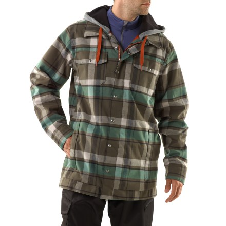 Snowboard Channel your inner lumberjack with the Hackett jacket from Burton-plaid flannel at its best, with a waterproof, breathable shell and body-mapped insulation for comfort on the hill. Yarn-dyed flannel plaid shell features 2-layer DRYRIDE Durashell(TM) waterproof, breathable coating and fully taped seams for serious weather protection. Taffeta lining keeps warmth inside and wicks away moisture. 3M Thinsulate(TM) insulation (40g throughout) is strategically placed to maximize heat retention and direct warmth to key areas. Mesh-lined pit zips dump excess heat and provide cooling airflow when needed. Contoured hood features heathered fleece for ultimate plush comfort, providing an all-weather defense without obstructing vision or limiting motion. Removable powder skirt with jacket-to-pants interface creates a barrier against snow entry with compatible Burton pants (sold separately). Features ample space to stash small essentials: dual fleece-lined handwarmer pockets, dual chest pockets, media pocket and venting antifog goggles pocket. Burton Hackett jacket features an ultra-roomy fit with extra-long sleeves and body. - $219.95