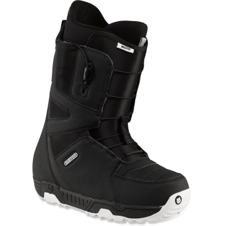 Snowboard Burton Moto snowboard boots are best sellers for a reason. With superb comfort, easy lacing and superior performance, Moto boots will keep your feet happy on the slopes. Speedy lacing lets you dust everyone in the sprint for first chair; shrunken footprint eases board control and shockproof cushioning lets you finally drop that cliff. Shrinkage(TM) technology reduces boot's overall footprint by 1 full size, minimizing boot overhang, bulk and weight. Durable 2-part outsoles feature EVA cushion in heels and rubber ice spikes for incredible traction on slippery surfaces. Grip-fit ribbing mates with binding grip zones to secure a locked-and-loaded response. Soft-flexing, slim 3D molded tongues wrap the forefeet in comfort, offer a seamless flex and reduce performance-robbing shell/liner stack-up. Streamlined Speed Zone(TM) shell lacing lets you fine-tune the upper and lower zones in seconds; this system offers powerful rebound, wrap and response with minimal effort. To make entry and exit easy, Burton has added a new pull loop on the tongue as well as a lace pull tab that releases both the upper and lower zones simultaneously. Snow-proof internal gussets on boot tongues completely seal lower boot zones to keep feet warm and dry. Imprint 1 EVA liners with quick-fit harnesses and lace locks secure feet; lightweight power panels surround calves and ankles with supportive comfort. Get a comfortable fit right out of the box: new, industry-exclusive toe box construction offers a quick break-in period and increases warmth and comfort. - $159.95