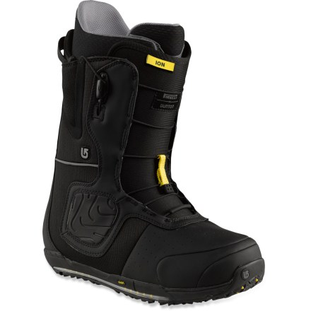 Snowboard Burton Ion snowboard boots offer a legendary fit preferred by the pros. Now featuring Pirelli(TM) rubber soles inspired by snow tires, you'll love the fit and feel of these boots. Burton Ion boots are designed to offer extreme comfort with high-end features galore; slip your feet inside and you may never want to take them out! Shrinkage(TM) technology reduces boot's overall footprint by 1 full size, minimizing boot overhang, bulk and weight. Outer shell pressure-relief panels: gel cushioning is fused to the area where ankle straps rest on boots to evenly distribute pressure when bindings are cranked tight. Powerful, seamless backstay spines increase medial/lateral support, edge-to-edge response and durability. Imprint(TM) 4 liners feature DRYRIDE moisture-wicking technology to keep feet comfortable; Rad Pads add comfort. Liners provide a consistent flex over time and slide on and off feet easily; precurved ankle panels reduce lace pressure on front of legs. To make entry and exit easy, Burton added a new pull loop on the tongue as well as a lace pull tab that releases both the upper and lower zones simultaneously. Snow-proof internal gussets on boot tongues completely seal lower boot zones to keep feet warm and dry. Firm-flexing, thin-profile, 3D molded tongues wrap the shins, ankles and insteps in comfort, offer a seamless flex and reduce performance-robbing shell/liner stack-up. Streamlined Speed Zone(TM) shell lacing lets you fine-tune the upper and lower zones in seconds; this system offers powerful rebound, wrap and response with minimal effort. Low-profile EST(TM) midsoles with a reduced ramp angle lower your center of gravity for improved boot feel; ultra-damping B3 gel inserts cushion without weight. Molded EVA footbeds with a supportive shank and dual-density cushioning lessen the blow of hardpack landings; antimicrobial coating fights odors. - $429.95