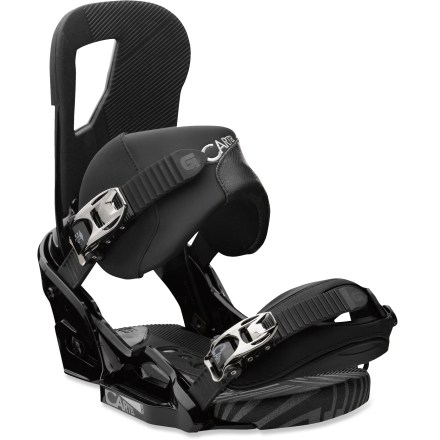Snowboard Burton Cartel EST snowboard bindings offers unmatched comfort and control for all-mountain explorations. The EST(TM) platform offers endless stance options and a truer flex from your board; plus, with personalized cushioning options, you'll enjoy ultimate feel and control. 30% short-glass/nylon composite EST baseplates enhance response and power without sacrificing the mobility that freestyle riders demand; reground materials reduce waste. Removable AutoCANT SensoryBED(TM) dual-density EVA cushioning lets your boots settle into a more natural position; B3 gel cushioning eats up vibration and impact. With AutoCANT underfoot you'll enjoy improved comfort, reduced fatigue and smoother and more direct board control regardless of stance width or angles. Canted Living Hinge(TM) Zero-Lean highbacks let you adjust forward lean and highback rotation independently of each other. Riders who prefer a more playful and relaxed feel will dig the zero forward lean; you can still choose to crank highbacks forward on the fly without tools. Improve heel-edge response by running your highbacks parallel to your board's edges. React ankle straps feature a 3D, curved shape and Enduro padding; improved wrap for constant contact with boots. Gettagrip capstrap toe straps feature a slim, 3D design; rubber material grips boot toes for a secure, locked-down fit. Multiple ankle and toe strap locations; tool-free telescoping adjusts strap length in seconds. Smooth glide levers deliver buttery-smooth and reliable ratcheting power season after season. - $259.95
