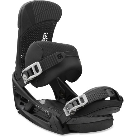 Snowboard Park rats rejoice. The soft-flexing Burton Malavita EST snowboard bindings are built for sliding rails, clearing kickers and rocking the quarter pipe. The EST(TM) platform offers endless stance options and a truer flex from your board; plus, with personalized cushioning options, you'll enjoy ultimate feel and control. Hinge technology allows your heels and the baseplates to move independently for a never-before-felt lateral flex. Mimicking the biomechanical movements in skateboarding, the Hinge flexes dynamically with your legs for increased foot roll and more powerful ollies. 30% short-glass/nylon composite EST baseplates enhance response and power without sacrificing the mobility that freestyle riders demand; reground materials reduce waste. Removable AutoCANT SensoryBED(TM) dual-density EVA cushioning lets your boots settle into a more natural position; B3 gel cushioning eats up vibration and impact. With AutoCANT underfoot you'll enjoy improved comfort, reduced fatigue and smoother, more direct board control-no matter what your stance width or angles are. Extendable toe ramps reduce toe drag and increase responsiveness. Canted Living Hinge(TM) Zero Lean highbacks eliminate hardware to reduce weight, and let you adjust forward lean and highback rotation independently of each other. Riders who prefer a more playful and relaxed feel will dig the zero forward lean; you can still choose to crank highbacks forward on the fly without tools. Reinforced rubbery material on the inside of highbacks wraps and hugs your boots; run your ankle straps a little looser and still get lightning fast turning response. Improve heel-edge response by running your highbacks parallel to your board's edges. Asym Superstrap ankle straps feature a laterally supportive asymmetric shape for powerful drive; they can be reversed if you prefer greater mobility. - $289.95