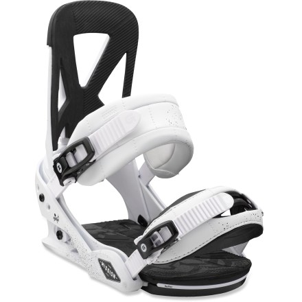 Snowboard Burton Mission bindings offer an impressive flex and feel that is perfect for all-mountain riding. With the Mission forget-it's-there fit, you'll have the freedom to float, spin, stomp and lap the lifts until last call. Canted Living Hinge(TM) Zero-Lean highbacks offers a playful, relaxed fit and feel; highbacks can be cranked forward for a more aggressive stance. Highbacks feature Over The Top padding, offering extra cushioning to eliminate pressure points. Short-glass fiber/nylon baseplates feature gapless EVA toe and heel pads; adjustable toe ramps reduce toe drag and increase responsiveness. FullBED(TM) cushioning covers the entire baseplate, and shock-absorbent damping pads eat up vibrations, sudden impacts and rough terrain so you don't have to. Superstrap(TM) ankle straps feature precurved spines molded to match the shape of your feet and ankles; gel padding dials in comfort. Gettagrip capstrap toe straps feature a slim, 3D design; rubber material grips boot toes for a secure, locked-down fit. Smooth Glide(TM) buckles with polished, chrome-plated aluminum levers and quick-release gates are strong and easy to grab for quick closure and release. Multiple ankle and toe strap locations; tool-free telescoping adjusts strap length in seconds. - $199.95