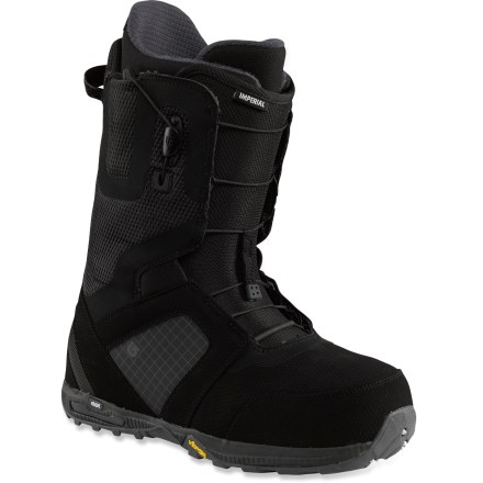 Snowboard Burton Imperial snowboard boots are the result of 30 years of boot-building expertise. These bang-for-your-buck boots are packed full of tech to take your boarding to the next level. Get a comfortable fit right out of the box: industry-exclusive toe box construction offers a quick break-in period and increases warmth and comfort. Shrinkage(TM) technology reduces boot's overall footprint by 1 full size, minimizing boot overhang, bulk and weight. Superlight and resilient shell panels evenly distribute strap pressure to maximize rebound and resist breakdown; their flex remains consistent, season after season. Imprint(TM) 3 liners move with you for increased agility and response; rip-and-stick liner closures. Rad Pad cushioning is built into liners. Liners provide a consistent flex over time and slide on and off feet easily; precurved ankle panels reduce lace pressure on front of legs. Medium-flexing, slim, 3D-molded tongues wrap the forefeet in comfort, offer a seamless flex and reduce performance-robbing shell/liner stack-up. Snow-proof internal gussets on boot tongues completely seal lower boot zones to keep feet warm and dry. Streamlined Speed Zone(TM) shell lacing lets you fine-tune the upper and lower zones in seconds; this system offers powerful rebound, wrap and response with minimal effort. To make entry and exit easy, Burton has added a pull loop on the tongue as well as a lace pull tab that releases both the upper and lower zones simultaneously. Molded EVA footbeds with a supportive shank lessen the blow of hardpack landings. Low-profile EST(TM) midsoles with a reduced ramp angle lower your center of gravity for improved boot feel; ultra-damping B3 gel inserts cushion without added weight. Vibram(R) EcoStep(TM) outsoles are made with recycled rubber and backed by nearly 70 years of mountaineering knowledge for superior traction, feel and light weight. - $299.95