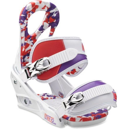 Snowboard She'll love the adorable Burton Stiletto Smalls snowboard bindings. Built for shredding, these bindings will take her riding to the next level. Don't let the bulletproof chassis fool ya; these stunners scream comfort with cloudlike cushioning and maximum adjustability. Single-component, lightweight polycarbonate baseplates are surfy and playful; a forgiving flex meets rugged strength for laid-back cruising. Features toe and heel EVA baseplate padding. Ergonomically-canted, cored highbacks eliminate hardware to save weight; forward lean and highback rotation adjust independently of each other for a precise fit. Highbacks feature Over The Top padding, offering extra cushioning to eliminate pressure points. Asym Luxstrap(TM) 3D-curved, padded ankle straps feature an asymmetric shape for mobility and lateral support. Primo Capstrap(TM) toe straps eliminate pressure across top of feet; Grip Fit zones offer locked-and-loaded response. Smooth Glide(TM) buckles deliver buttery-smooth and reliable ratcheting power season after season. - $119.95