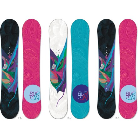 Snowboard The Burton Lux snowboard rides effortlessly on any terrain. It features a soft, forgiving flex and flat profile thats ideal for setting down deep carves and landing every trick. - $199.83