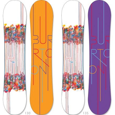 Snowboard Girls that have their sights set on rocking the park and pow will enjoy the feel and ride of the Burton Feelgood Smalls Flying V snowboard. Rocker overall, and between and outside the feet, enhances catch-free playfulness and float through pow. Subtle camber zones underneath feet focus edge control for crisp snap, added pop and power through the turns. Twin shape and twin flex: this board is symmetrical from tip to tail for a balanced ride that's equally versatile whether ridden regular or switch. Tip-to-tail wood core is durable and provides a forgiving flex for edge control and solid turns. Biax(TM) React fiberglass construction provides torsional forgiveness, board feel and edge hold, perfect for advancing to the next level. Tapered tip and tail thickness reduces swing weight and improves powder flotation. Slantwall sidewalls offer a consistent edge hold that cuts like a knife. Easy-to-maintain extruded base combines speed and durability to keep you moving fast in all types of conditions. . - $259.95