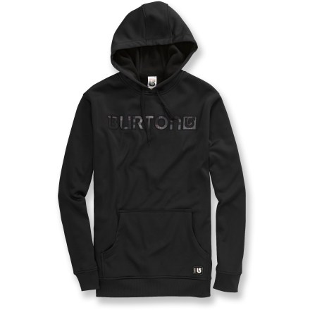 Snowboard The Burton Cymbal Pullover hoodie features a loose fit with plenty of room for layering. Bonded fleece feels exceptionally soft against your skin. Hood with drawstring closure cinches around your face for warmth. Kangaroo hand pocket; hidden side seam stash pocket. Closeout. - $30.83