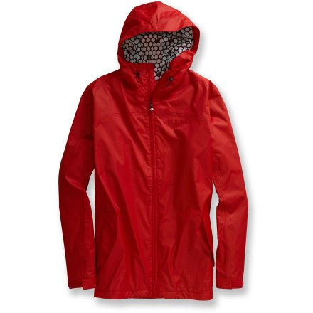 Snowboard The Burton 2L Terrapin jacket packs down small for at-the-ready rain protection anywhere you go. Windproof, ripstop polyester shell features a waterproof, breathable coating and critically taped seams for full weather protection. Taffeta lining slides easily over base layers. Contoured hood shields your face from rain and snow. Soft chin guard prevents zipper chafe. Zippered hand pockets. Closeout. - $47.83
