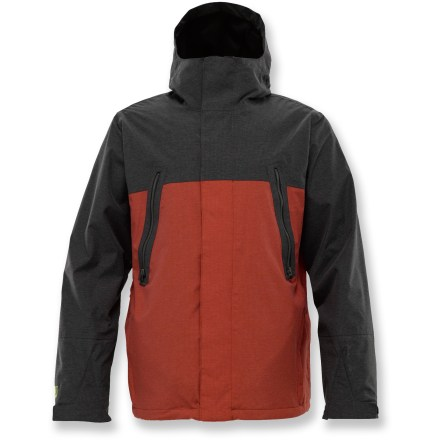 Snowboard Made from recycled materials, the Burton Briggs waterproof, breathable shell jacket provides no-frills weather protection for all your mountain ripping and roaring. Recycled nylon shell sports a DRYRIDE Eco-Durashell(TM) laminate with fully taped seams for waterproof, breathable protection from the elements. Recycled taffeta lining wicks moisture away. Body-mapped lining retains warmth via strategically placed fleece panels. Mesh-lined Pit Zips(TM) dump excess heat and provide cooling airflow when needed. Adjustable hood provides an all-weather defense without obstructing vision. Powder skirt keeps out cold air and spindrift. Thumb grip loop locks jacket cuffs around your gloves for a shield against snow entry. Fleece-lined hand pockets offer a cozy spot to warm up chilly digits. Zippered chest pockets and interior pockets stash wallet, pass and other small accessories; vented antifog pocket holds your goggles. Burton Briggs jacket features a classic fit with ample room for layering. Closeout. - $139.93